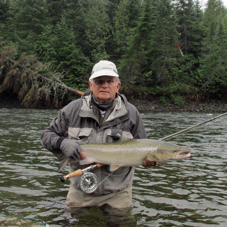 Peter Corbin fishing on the Grand Cascapedia River August 2012