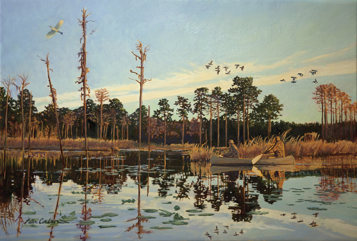 A Good Morning by Peter Corbin is the featured painting for the Plantation Wildlife Arts Festival, Thomasville, GA
